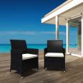 PE rotin 2 chaises noires pack double