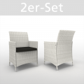 PE rotin 2 chaises blanc pack double