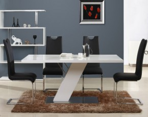 Table de repas blanc brillant