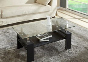 Table d'appoint cuir verre
