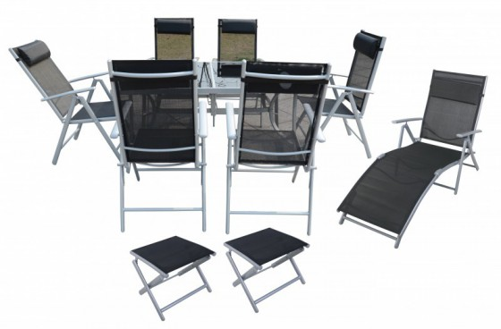 Alu ensemble de jardin table + 6 chaise + chaise longue + 2 tabourets