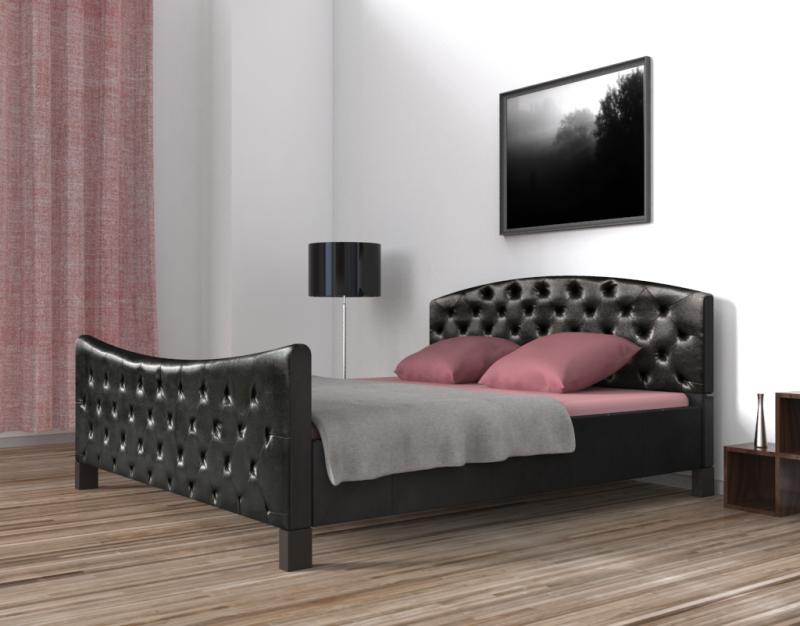 lederbett schwarz 160 x 200 cm online shop gonser. Black Bedroom Furniture Sets. Home Design Ideas