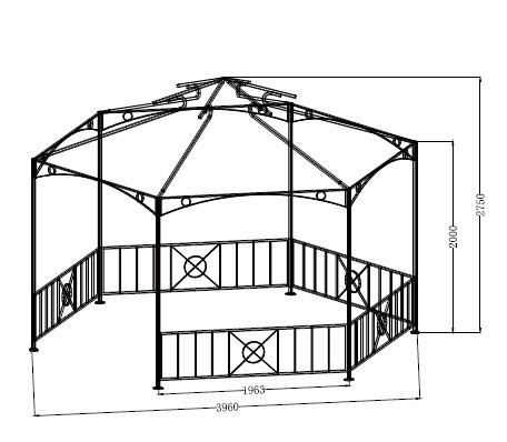 gartenpavillon 6 eckig online shop gonser. Black Bedroom Furniture Sets. Home Design Ideas