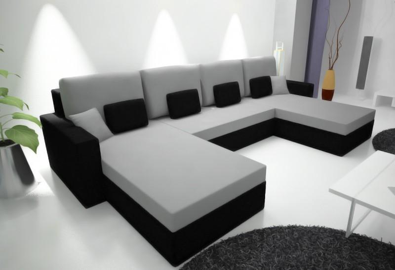Canap d 39 angle adriano noir gris clair magasin en for Canape disponible immediatement